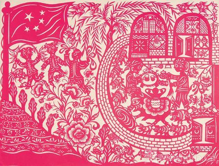 展示当代民间剪刻纸精品庆祝新中国成立70周年