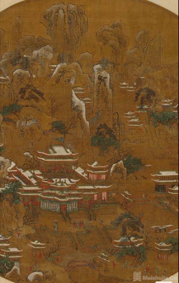 《京畿瑞雪图纨扇》中的长安雪景