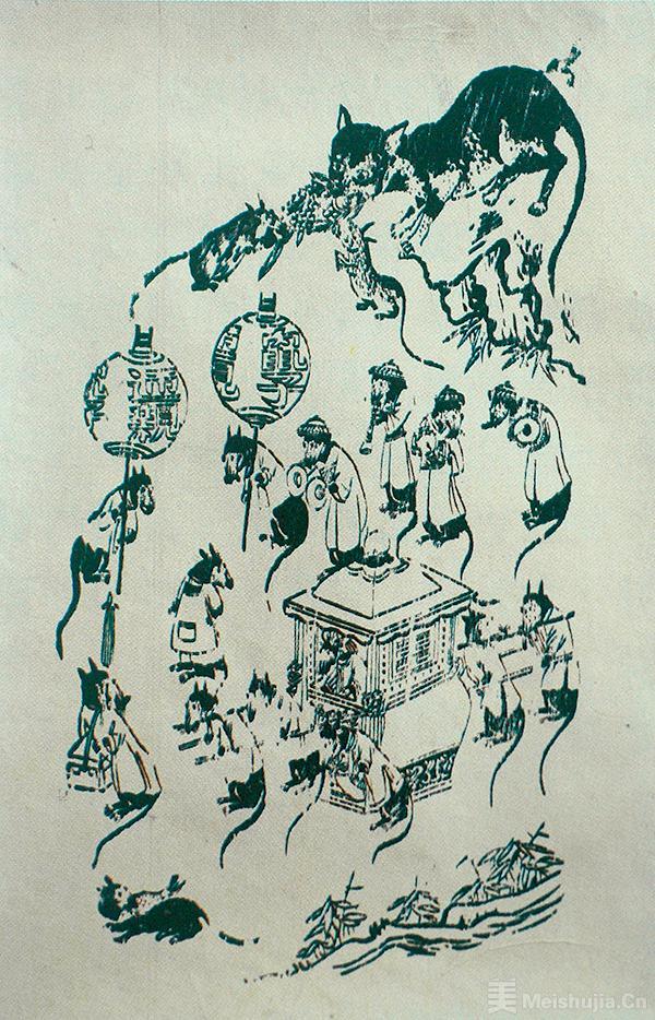 民国木刻年画《老鼠嫁女》