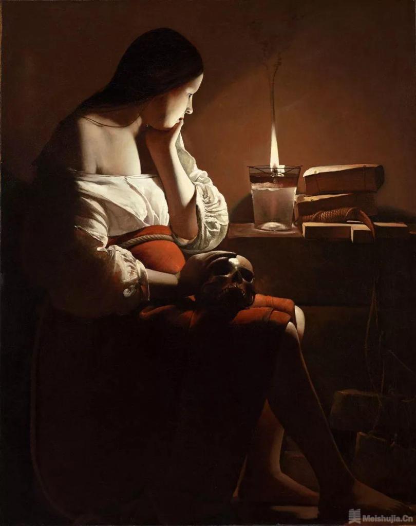 乔治 • 拉图尔《油灯前的马格达丽娜》