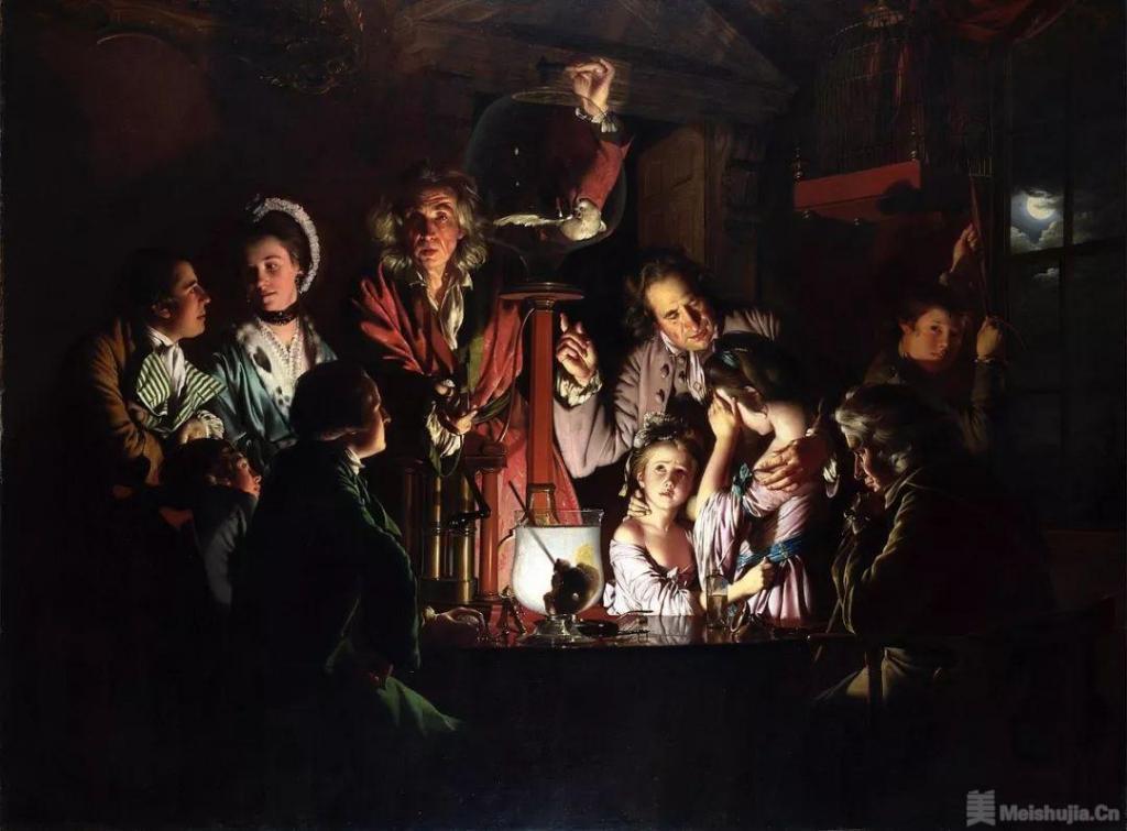 约瑟夫 • 莱特《气泵里的鸟实验》