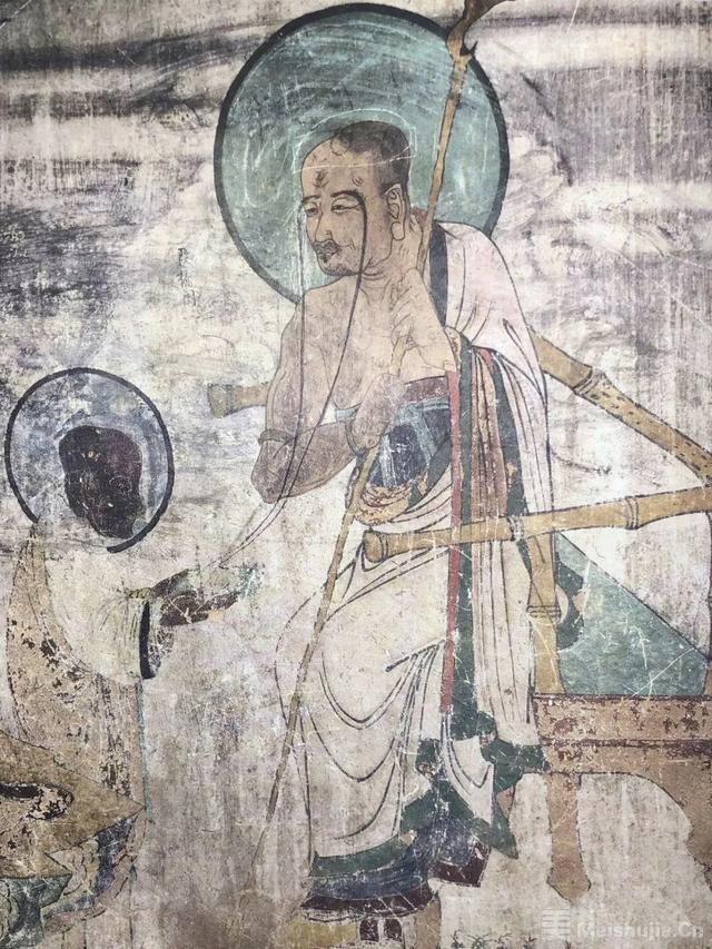 敦煌元代壁画:长眉罗汉像