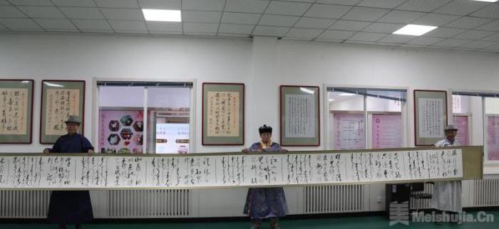"""蒙古族六旬书法爱好者寄""""蒙汉合璧""""作品弘扬民族融合"""