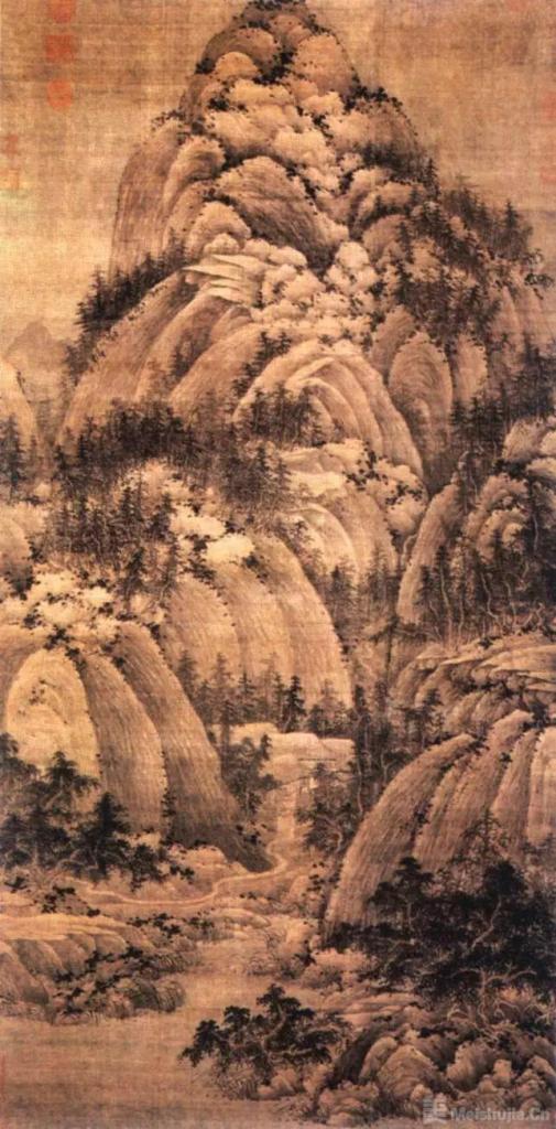 宋代 巨然《秋山问道图》